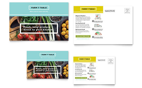 Organic Food - Postcard Template