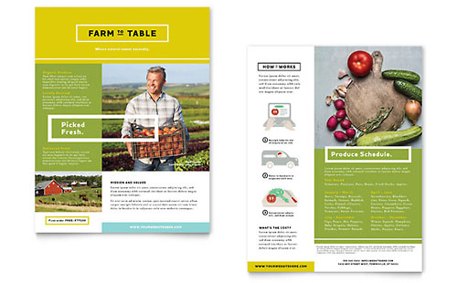 Organic Food - Sales Sheet Template