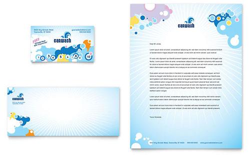Car Wash Business Card & Letterhead Template