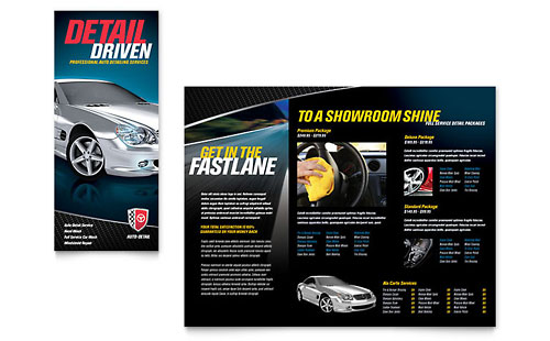 Auto Detailing - Tri Fold Brochure Template