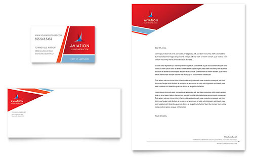 Aviation Flight Instructor Business Card & Letterhead Template
