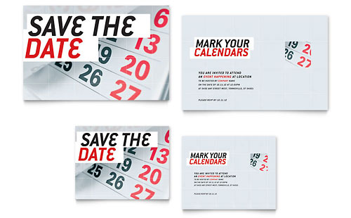 Save The Date Note Card Template