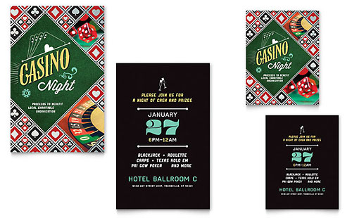 Casino Night - Note Card Sample Template