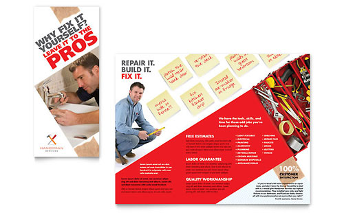 Handyman Services Tri Fold Brochure Template