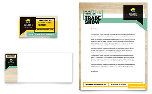 Builders Trade Show Business Card & Letterhead Template