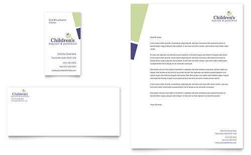 Child Care & Preschool Business Card & Letterhead Template