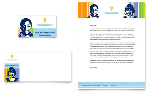 Learning Center & Elementary School Business Card & Letterhead Template