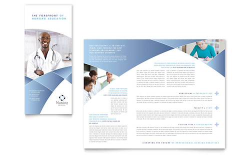 Nursing School Hospital Tri Fold Brochure Template