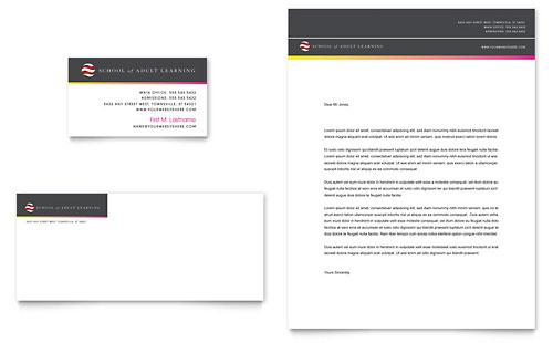 Adult Education & Business School Business Card & Letterhead Template