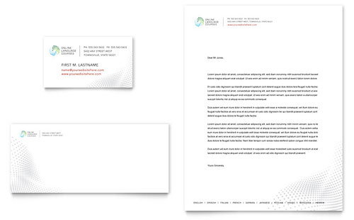 Language Learning Business Card & Letterhead Template