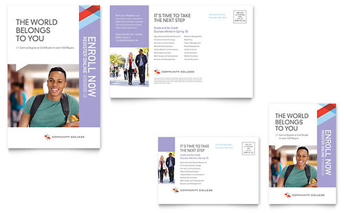 Community College Postcard Template
