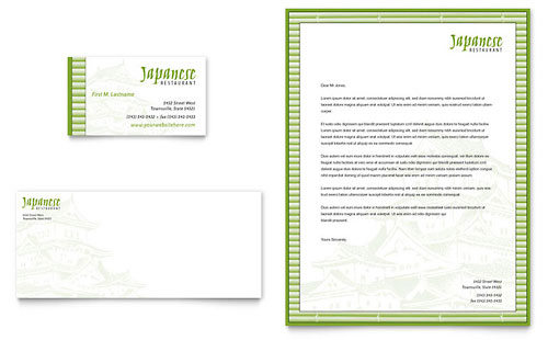 Japanese Restaurant Business Card & Letterhead Template