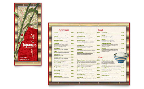 Japanese Restaurant Take-out Brochure Template