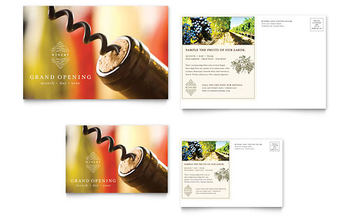 Vineyard & Winery Postcard Template