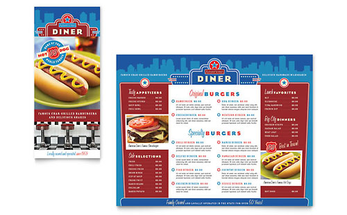 American Diner Restaurant Take-out Brochure Template