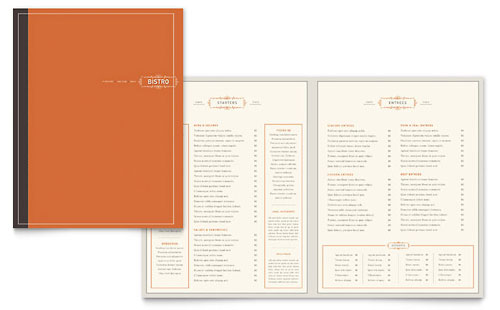 Bistro & Bar Menu Template