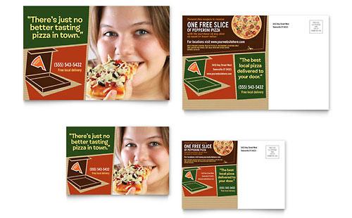 Pizza Pizzeria Restaurant Postcard Template