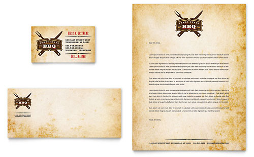 Steakhouse BBQ Restaurant Business Card & Letterhead Template