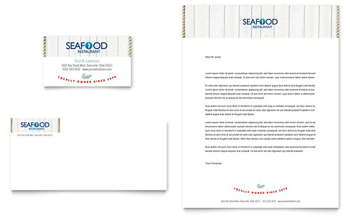 Seafood Restaurant Business Card & Letterhead Template