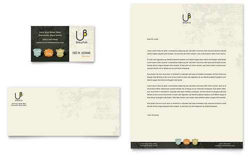 Brewery & Brew Pub Business Card & Letterhead Template