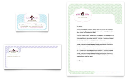 Bakery & Cupcake Shop - Business Card & Letterhead Template