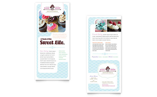 Bakery & Cupcake Shop Rack Card Template
