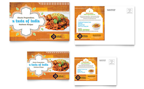 Indian Restaurant Postcard Template