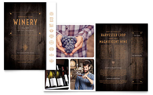 Winery Print Design Brochure Template