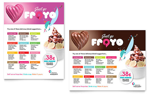 Frozen Yogurt Shop Poster Template