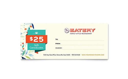 Family Restaurant Gift Certificate Template