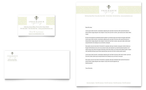 Life & Auto Insurance Company Business Card & Letterhead Template
