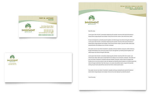 Investment Management Business Card & Letterhead Template