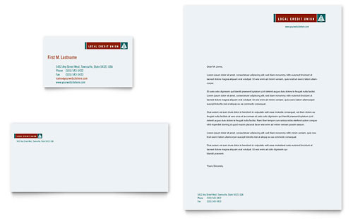Credit Union & Bank Business Card & Letterhead Template