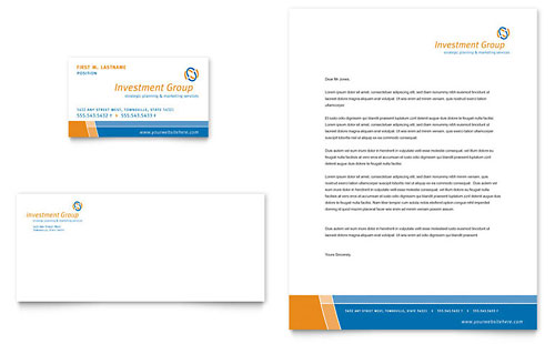 Investment Services Business Card & Letterhead Template