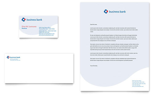 Business Bank Business Card & Letterhead Template