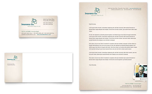 Life Insurance Company Business Card & Letterhead Template