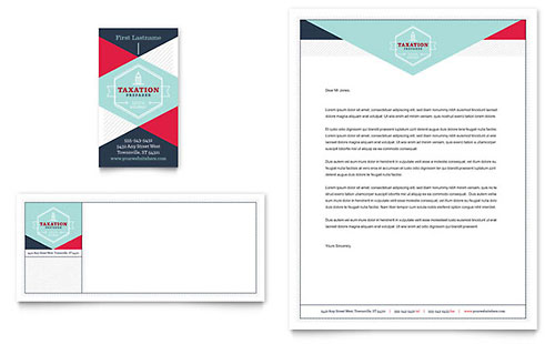 Tax Preparer Business Card & Letterhead Template