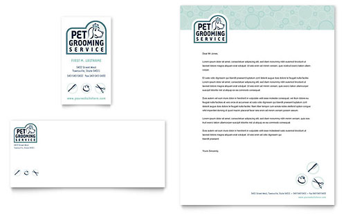 Pet Grooming Service Business Card & Letterhead Template