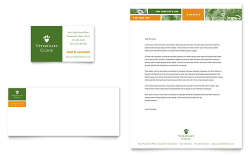 Veterinarian Clinic - Business Card & Letterhead Template