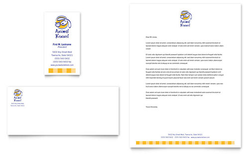 Dog Kennel & Pet Day Care Business Card & Letterhead Template