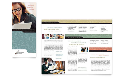 Bookkeeping & Accounting Services Tri Fold Brochure Template