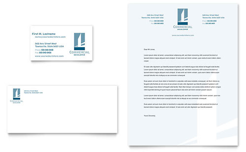 Commercial Developer Business Card & Letterhead Template