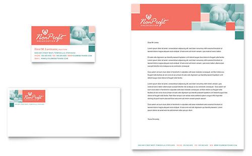 Non Profit Association for Children - Business Card & Letterhead Template