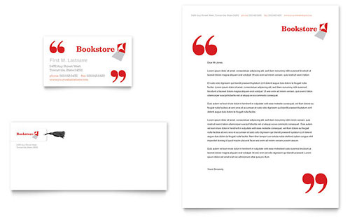 Bookstore & Library Business Card & Letterhead Template
