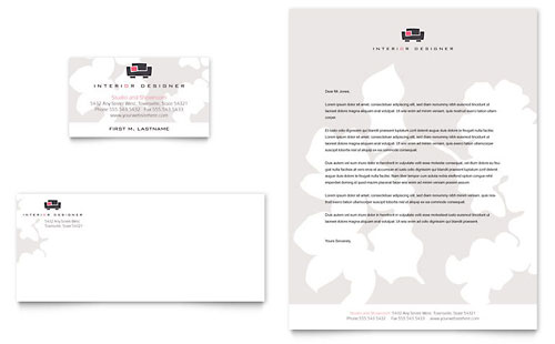 Interior designer business card letterhead template design sample