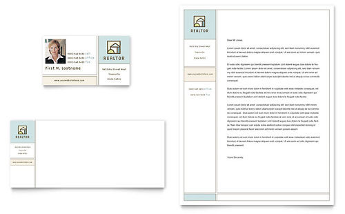 House for Sale Real Estate Business Card & Letterhead Template