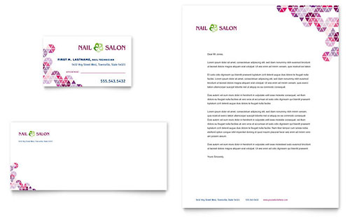 Nail Salon Business Card & Letterhead Template