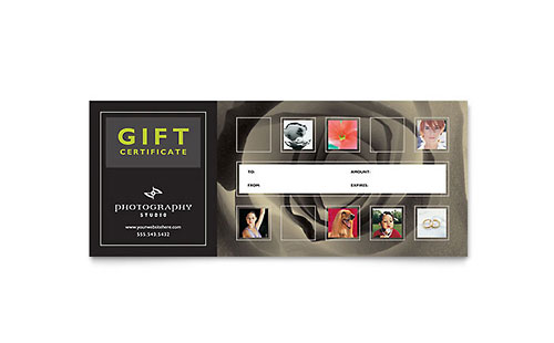 Photography Studio Gift Certificate Template