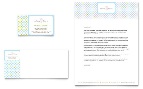 Infant Care & Babysitting Business Card & Letterhead Template