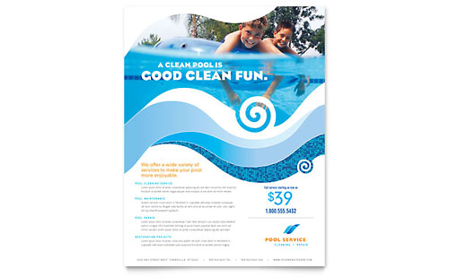 Swimming Pool Cleaning Service Flyer Template